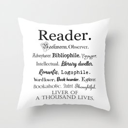 Reader Description Throw Pillow