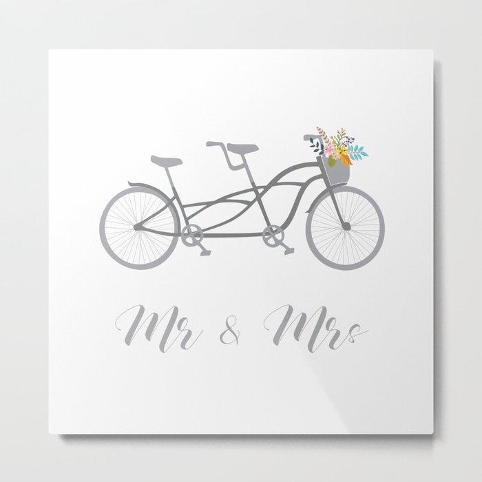 MR & Mrs Tandem Bike Gra Metal Print