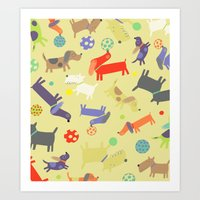 dogs Art Prints featuring Dogs by Amy Schimler-Safford