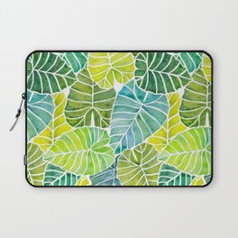 Tropical Leaves Alocasia Elephant Ear Plant Blue Green Laptop Sleeve