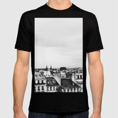 Upon the rooftops (B&W) MEDIUM Mens Fitted Tee Black