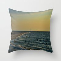 sailboat Throw Pillows featuring Sailboat by Damn_Que_Mala