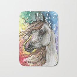 Horse with rainbow background Bath Mat
