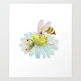 Coexisting on a Blue Flower -Bee Butterfly Art Print