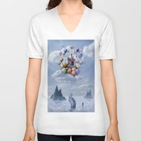 castle V-neck T-shirts featuring Sweet Castle by teddynash