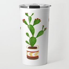 Flowering Cactus White background Travel Mug