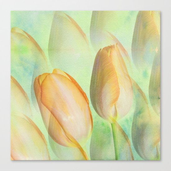 Water colour Spring Tulips Canvas Print