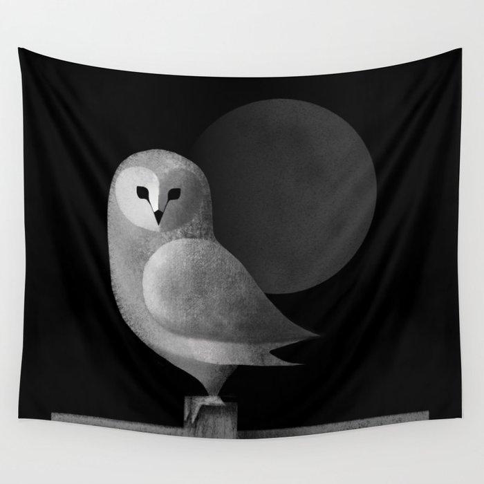 Barn Owl Full Moon Wall Tapestry