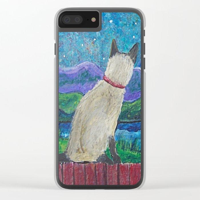 Siamese Cat in the Moonlight Clear iPhone Case