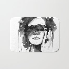 Watercolour Fashion Illustration Girl with the Plait in Her Hair Bath Mat
