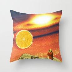 Orange planet Throw Pillow
