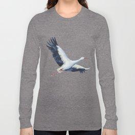 Watercolor stork Long Sleeve T-shirt