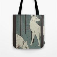 wolves Tote Bags featuring Wolves by James White