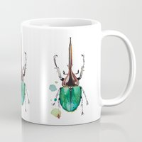 beetle Mugs featuring Beetle by Rocío Gómez