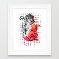 ganesh Framed Art Prints featuring Ganesh by Rishi Parikh