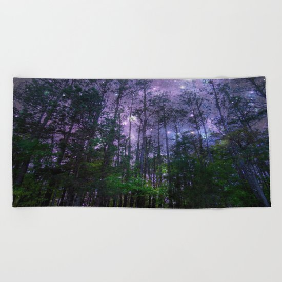Mystic Forest : Purple Space  Beach Towel