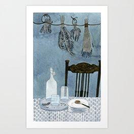 Still life with dried herbs Art Print