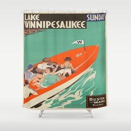 Vintage poster - Lake Winnipesaukee Shower Curtain