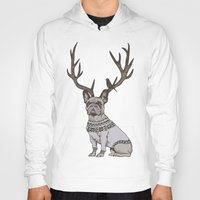 frenchie Hoodies featuring Deer Frenchie  by Huebucket