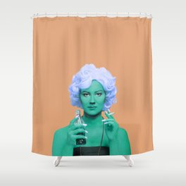 Pop art lady smoking and drinking green skin and orange background Shower Curtain