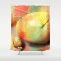 eggs Shower Curtains featuring Pastel eggs by Christine baessler