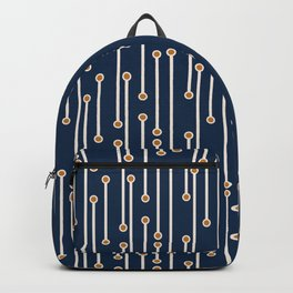 Dotted Lines in Navy, Cream and Orange Backpack