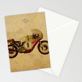 motorcycle number 9 vintage bacjground old logo Stationery Cards