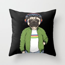 Dog with headphones and music Throw Pillow