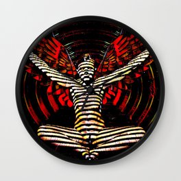 0395s-PDJ Sensual Angel with Red Wings Woman Empowered as Succubus Wall Clock