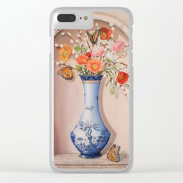 Blue Willow Niche with Flowers Clear iPhone Case