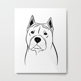 American Staffordshire Terrier (Black and White) Metal Print