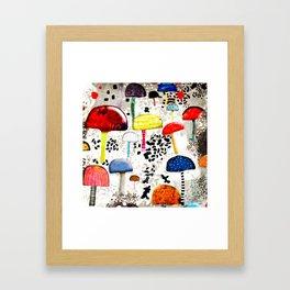 Mein Ein, mein Alles - Mushrooms Abstract Botanical Art - cute animal print - Leopard Muster Framed Art Print