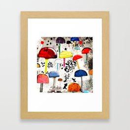 Mein Ein, mein Alles - Mushrooms Abstract Botanical Art - cute animal print - Leopard Muster Framed Art Print
