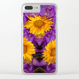 YELLOW SUNFLOWERS AMETHYST FLORALS Clear iPhone Case