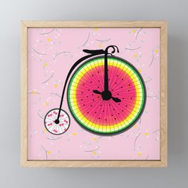 Vintage Bicycle Fruits Wheels Design Framed Mini Art Print