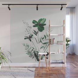 Green Flowers Wall Mural