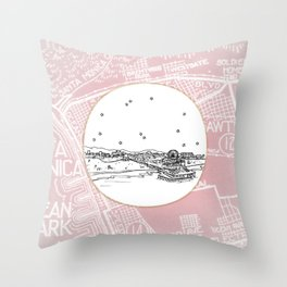 Santa Monica Pier, California City Skyline Illustration Drawing Throw Pillow