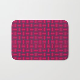 REITERATE - candy apple carmine red and blue block repeat pattern Bath Mat