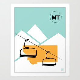 Skiing in Montana Art Print