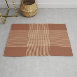 Plaid lines in Terracotta and Beige Rug