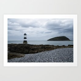 Trwyn Du Lighthouse And Puffin Island Art Print