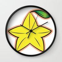 kingdom hearts Wall Clocks featuring Paopu Fruit : Kingdom Hearts by Katie Nichols