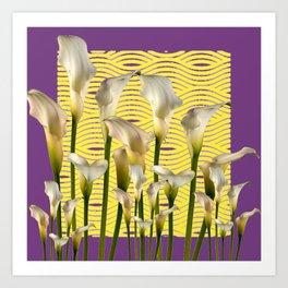 Purple-Yellow Calla Lilies Pattern Art Print