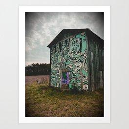Blue Graffiti Barn Art Print