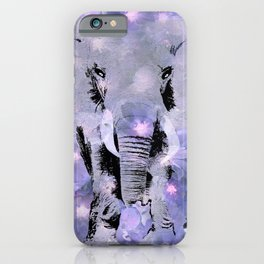ELEPHANT AND LILAC PURPLE VIOLET BLOSSOMS iPhone Case