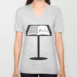 Nice Music Tee For Musicians Opera T-shirt Design Heart Notes Opera Musical Choir Clef Stand Unisex V-Neck