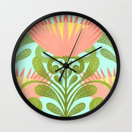King Protea Flower Pattern - Turquoise Wall Clock