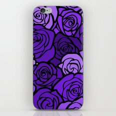 Romantic Purple roses with black outline iPhone & iPod Skin