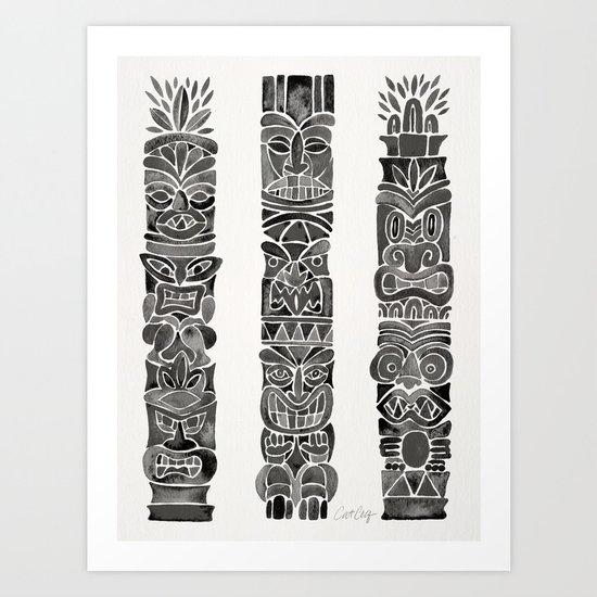 Tiki Totems – Black Art Print