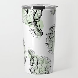 Artichoke backdrop. Seamless pattern artichoke sketch. Hand-drawn artichokes without background. Travel Mug
